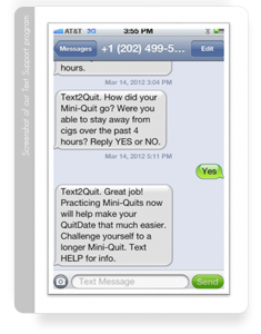 Screenshot of our Text Support Program